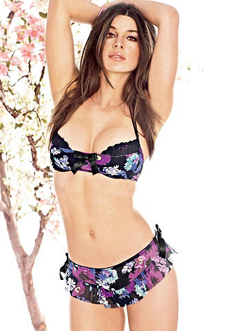 Floral Print Skong - Done in a sweet floral print and accented with ruffles across the front, these panties flaunt your flirty side. Finished with a lace thong and side ties with satin bows. Wear it with our matching Floral Print Halter Bra. Polyester. Imported.