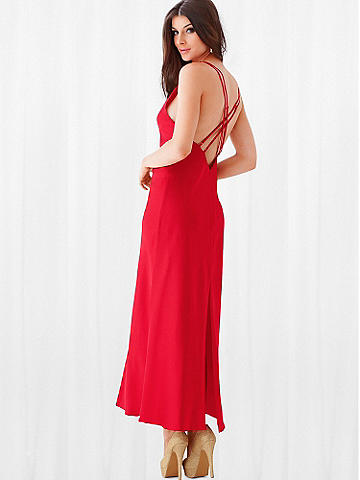Satin Gown - A glamorous silhouette that's forever sexy. Frederick's most popular satin gown has a deep V-neckline and double straps in back. Back slit. Polyester. Imported. 