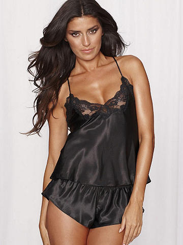 Satin and Lace Cami & Tap Pant - Lounge about in ultimate style with luxe satin and lavish lace. Cami has a lace-up back and adjustable shoulder straps. A matching tap pant sizzles with lace insets at the sides. Polyester/nylon. Imported.