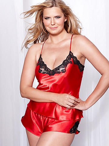 Satin and Lace Cami & Tap Pant PLUS - Sleek, sumptuous satin. Lavish, luxe lace. Could there be a more beautiful combination? This two-piece set drapes your body and perfectly accents your curves. Cami has lace-up back and adjustable straps. Matching tap pant. Polyester/nylon. Imported.