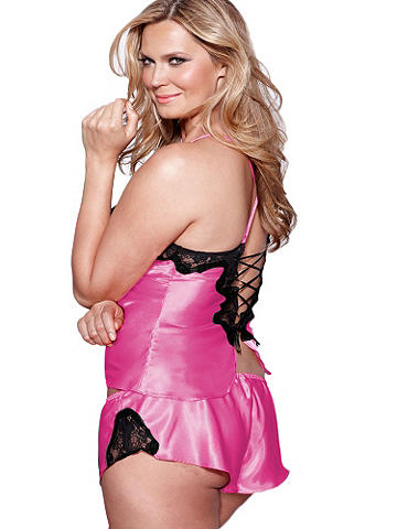 Satin and Lace Cami & Tap Pant PLUS
