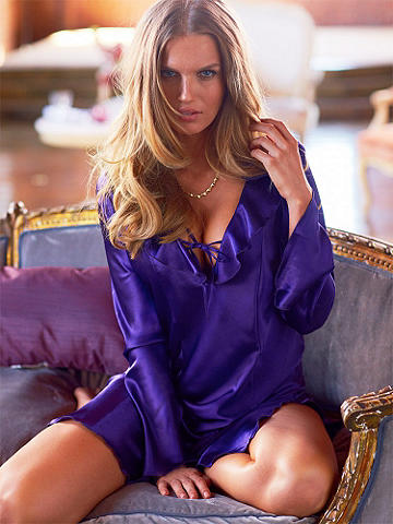 Satin Ruffle Sleepshirt PLUS