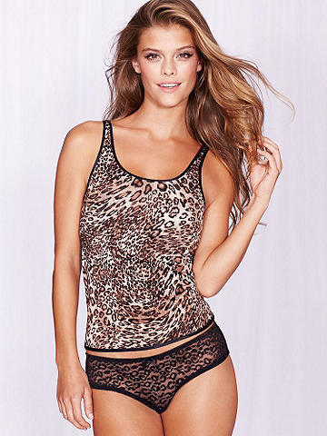 Leopard Cami Doll Set - This two-piece set is fiercely flirty! Featuring an animal patterned front with a leopard printed sheer lace back, you can lounge in style any time. Comes with a matching panty. Polyester/nylon/spandex. Imported.