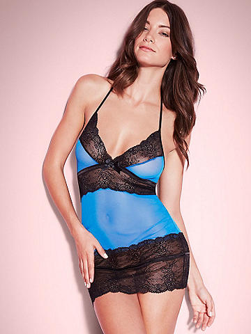 Nadia Halter Chemise - Boost your confidence and boudoir beauty in a body-skimming, shimmering chemise! The sheer coverage offers a tantalizing peek-a-boo effect, while the curve-hugging design lifts and smooths in all the right places. 