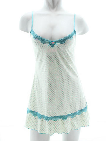 Polka Dot Lace-Trimmed Chemise - Perfectly dotty with lush lace trim and satin flower bow accent. Adjustable straps. Polyester/spandex. Imported.