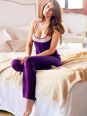 Beauty Sleep Pant - This super soft pant will be an instant favorite! Its t-shirt-like feel will be the secret to your most restful beauty sleep ever. Finished with banded lace top and a satin ribbon tie. Imported.
