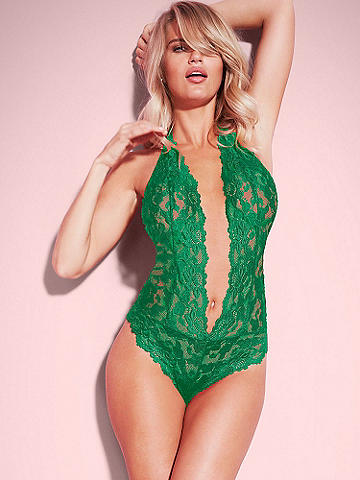 Jessica Lace Teddy - This irresistibly sexy teddy brings bombshell appeal in the same soft, cross-dye lace as the Jessica Panty. Stunning features include: 