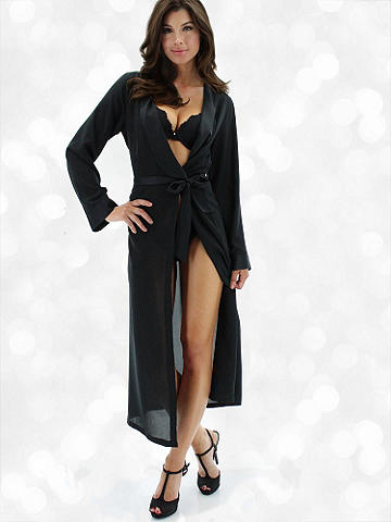 Black Label Long Robe - Exquisitely crafted and designed for the most decadent, sexy lounging—this robe is utterly desirable and the perfect way to indulge yourself. Enhanced with the softest peachskin chiffon and finished with self-tie. Polyester. Imported.