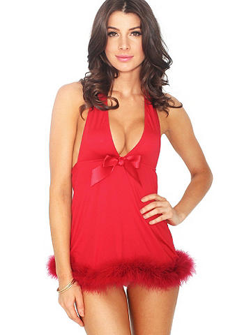 NEW Microfiber & Marabou Babydoll - Unforgettably glamorous in a body-loving, classic shape, this flirty babydoll is dressed to thrill with fluffy marabou and a satin bow. Sleek microfiber body and alluring halter neck. Polyester/spandex. Imported.