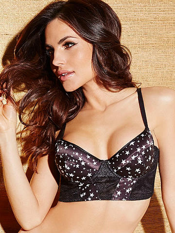 Starlet Longline Bra - You were born to be a star, and this celestial longline bra with classic retro lines, star print and figure-flattering lace sides will launch your star power into the stratosphere. Pair this with our Starlet Thong for out of this world seduction. A-List worthy features include: 