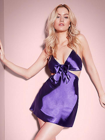 Mélanie Bow Satin Chemise - Classic glamour goes edgy with racy cutout details. This irresistible, new chemise features: 