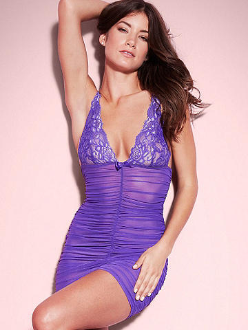Suzanne Lace & Ruched Chemise - Dress up in a body-adoring chemise designed in feminine lace and seductive ruching. Features include: 