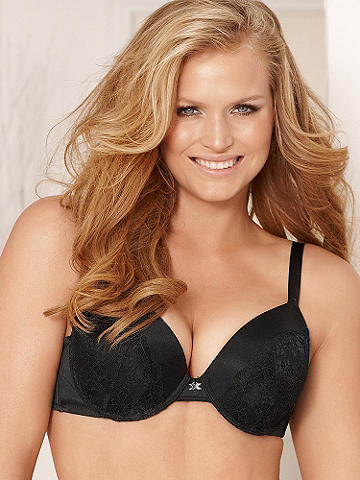 "Hollywood Exxtreme Cleavage Satin & Lace Full-Figure Bra - Now designed in luxe satin and lace, our best-selling bra is ready to give you the most alluring cleavage you crave. Still flaunting its most legendary features:<br><br>• Removable push-up pads to create as much cleavage you need<br>• Deep-plunge front for the most daring-cut tops<br>• Sparkling ""X"" charm bling<br>• Adjustable straps that effortlessly convert to halter and racerback<br><br>Nylon/spandex. Imported."