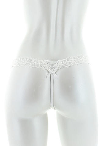 Lauren G-String - Our most-coveted collection does it again. From the allover lace to the body-hugging shape and sexy lace-up detail at the sides, this G-string panty is impossible to resist. Contrast lace trim with ribbon accent. Imported.