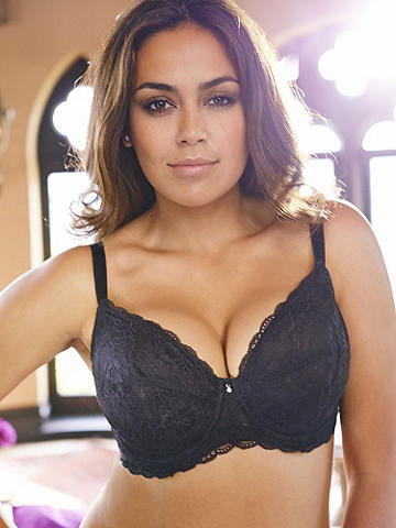 Lace Coquette Full Figure Bra - Our most-desired, bra is now in sizes to 44 DD. Play the part of a coquette with a down-to-there plunge front, sheer lace and scalloped edges. Sexy yet still supportive, it features: 