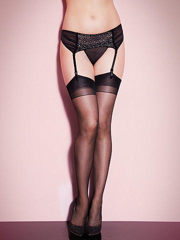 Ruched and Sparkle Mesh Garter Belt - Add a high-voltage pop of sex appeal to your next night in. This stunning piece features: 