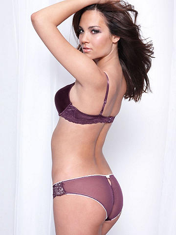 Microfiber & Lace Bikini - Soft microfiber and lace sides turn this panty into an unexpected little luxury. The sheer mesh back is finished with a peek-a-boo keyhole. Rhinestone accents decorate the sheer lace sides. Nylon/spandex. Imported.