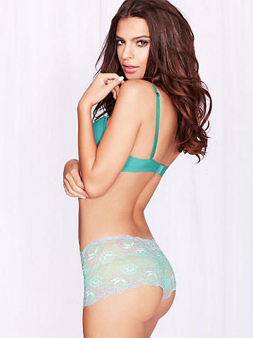Flora Lace Cross-Dye Boy Short - Your favorite flirty silhouette, in a beautiful soft stretch lace. Featuring a cross-dye floral design for a touch of everyday romance. Nylon/rayon spandex/cotton. Imported.