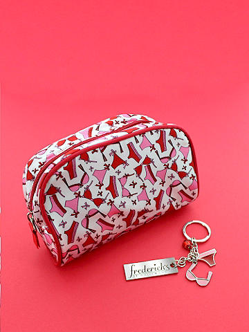 Flirty Cosmetic Bag & Keychain - Calling all lingerie lovers! This is the perfect, little carryall for you. The sleek satin cosmetic bag in a sassy bra-and-panty print features: