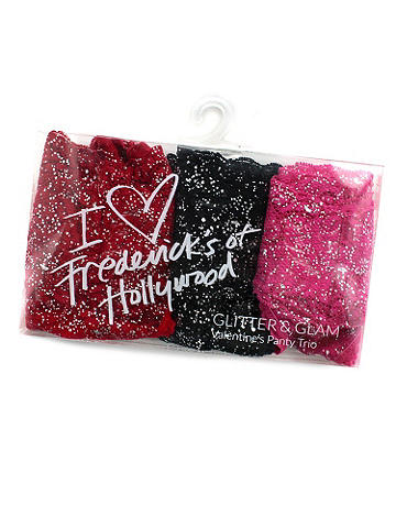 """I Heart Frederick's"" Glitter Panty 3-Pack - A sexy little surprise for the girl who has it all—and wants more! This ""Love Frederick's"" three-pack features glittering Bridget lace thongs in flirty, hot hues. Nylon/spandex. Imported."