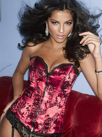 Flocked Satin Corset