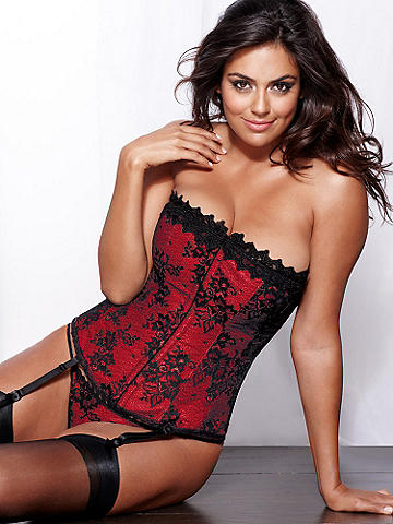 Hollywood Dream Full-Figure Lace Corset - Our best-selling corset in a gorgeous lace design. Sleek satin is embellished with a luxurious lace overlay and trim. Features include: