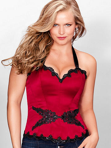 Satin Applique Full-Figure Corset