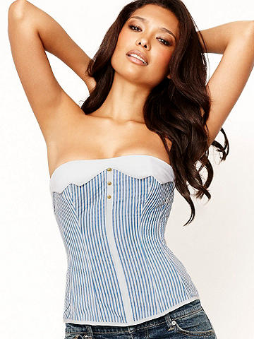Seersucker Striped Corset