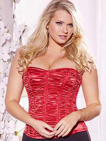 Ruched Strapless Corset Plus