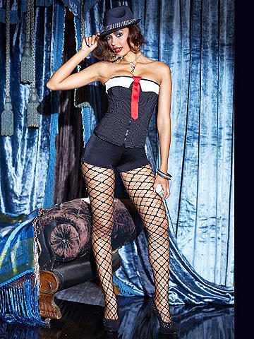 Reversible Strapless Corset - Mix up your costume look this season, and go from party to party as a gorgeous gangster or a military pin-up. Its flirty features include: