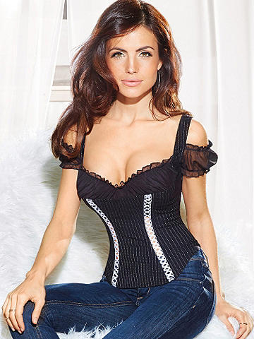 Pinstripe Off-Shoulder Corset - Show them you mean business in a menswear-inspired corset with feminine frills. This stunning must-have features: