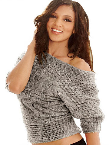 Off-Shoulder Cable Knit Sweater - Slip into a sensational off-the-shoulder sweater for the perfect display of cold weather fashion. Half dolman sleeve design features a cozy cable knit with banded bottom and neck detail. Acrylic/wool. Imported.
