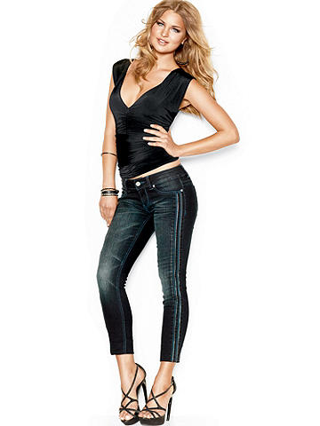 Skinny Zipper Denim - Get the skinny on style!  Our new skinny denim has a fierce attitude thanks to some well-edited details:<br><br>• Zipper detail up the leg<br>• Zip fly<br> • 5 pocket design<br><br>Cotton/polyester/spandex. Imported.
