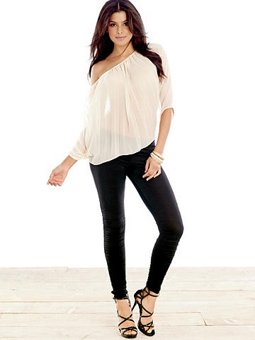 Ruched Legging PLUS - This fashion-forward closet staple gets a sexy update with all-over ruching. In a figure-flaunting stretch fit. Pair with a tee and heels for an effortlessly sexy day look and take them straight to evening in a body-con tank and platforms! Polyester/spandex. Imported.
