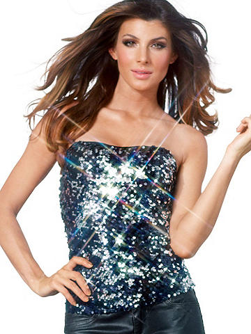 Sequin Tube Top - Strapless perfection! Shimmering, shining and all together sparkly, this strapless top is ready for all the evening has to offer. Pair with a pencil skirt and blazer for an after-work happy hour, then slip off the jacket for the perfect outfit to dance the night away. Features two-toned sequins and a full lining. Imported.