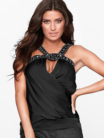 BEADED SATIN TOP