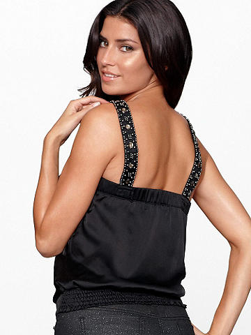 BEADED SATIN TOP - Statement-making satin to make you feel like a star! In a sleeveless silhouette, this stunning top features an intricately beaded trim. Finished with a peek-a-boo front and elastic at the top of the back for comfort fit. Imported.