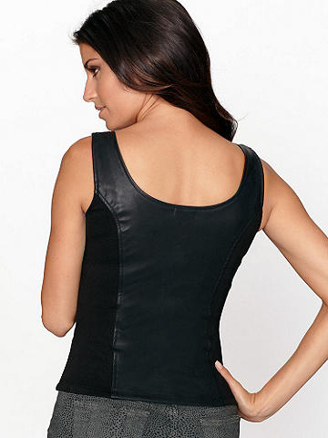 FAUX-LEATHER PONTE TOP