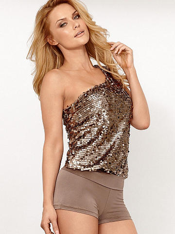One-Shoulder Sequin Romper
