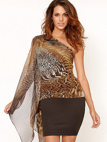 Chiffon One-Shoulder Top - With a flowing, one shoulder silhouette, this top epitomizes breezy getaway glam.Try it with our Pleather Mini Skirt, dangly earrings and your favorite sandal for day look. Then transition straight to a night on the town—admiring glances, free! 