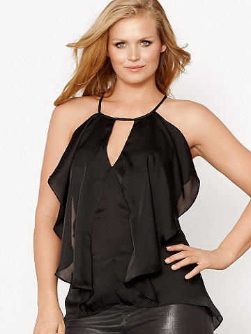 Cascade Ruffle Top Plus - When it comes to satin, we think it's the perfect choice all day, every day! Wear this ultra-flirty top now with your favorite denim, and as the temps rise, add a punchy pop to our Faux Leather Short. Finished with a cascade ruffle front and tie halter neckline, this is the ultimate piece for summer chic. Polyester. Imported.