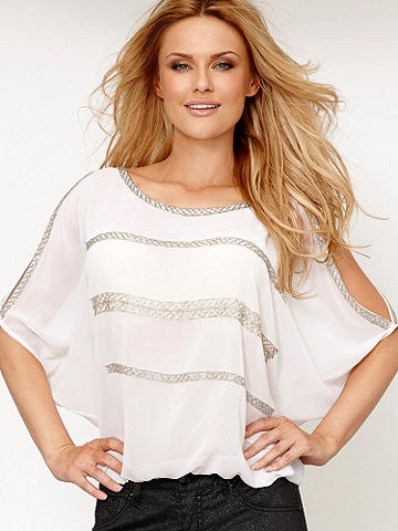 Cold Shoulder Beaded Top