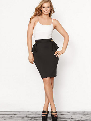 Scuba Peplum Skirt Plus - A slimming pencil silhouette and trend-right peplum give this skirt the flair that summer bombshells need! Perfect for workday ensembles and dinner parties alike, the peplum zips off for endless styling options. Pair this skirt with sky-high heels, an armful of bangles and let the envious glances commence. 