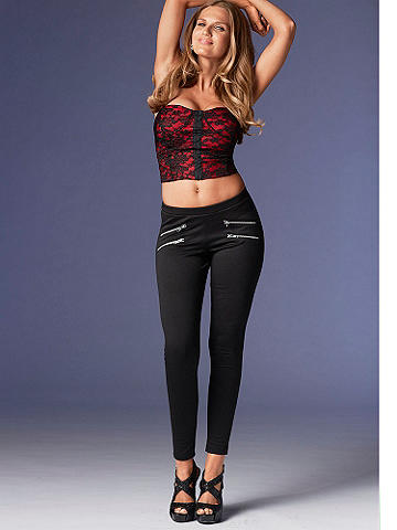 Lace Bustier - With delicate lace detailing and a body-contouring fit, this bustier top is about to add a sexy boost to your day! Pair with skinny jeans and a stiletto heel for after-office-hours fun! Hook-n-eye closure front. Strapless silhouette. Polyester. Imported.