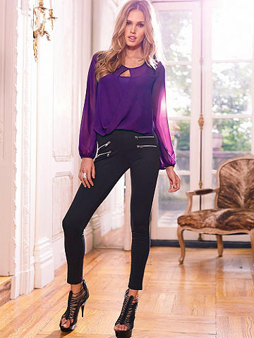 Slim Fit Zipper Pant - Perfection in a pant! A favorite silhouette that just keeps getting better, this knit pant can take you from day to night with ease. Zipper details at the front. Pull-on style. Polyester/rayon/spandex. Imported.