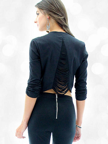 Strappy Back Blazer - Step up your street style or add an edge to after dark. This better-than-basic blazer drapes perfectly and pairs with everything. The open-front features seductive updates: a strappy back inset and ruched sleeves. Imported.