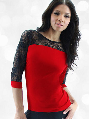Luxe Lace & Knit Top - Intricate lace in a beautiful cross-dye dresses up an easy, essential knit top that pairs with everything. Because even your wardrobe basics should have a sexy, alluring edge. Rayon/cotton/spandex. Imported.