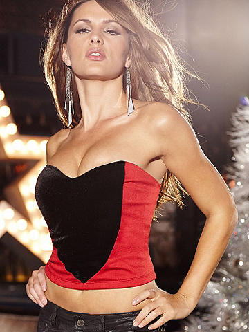 Velvet Inset Tube Top - An after-dark layering piece gives your looks a pop of sex appeal, this slinky tube top goes luxe with a velvet inset. Wear it under a blazer and with your favorite pair of jeans on club night. Zipper back. Polyester/spandex. Imported.