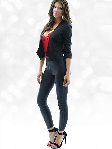 Biker Chic Legging - An essential legging with a rocker girl edge. Knit style with pleather front inset and zipper back. Pair it with an oversized shirt, moto jacket and buckled booties. Polyester/polyurethane. Imported.