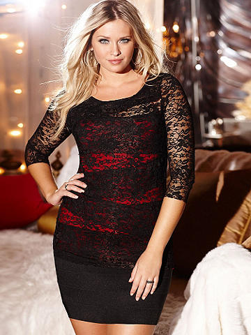 Body-Loving Lace Top PLUS - The gorgeous, timeless allure of lace gets a modern update in a flattering diagonal design. A chic layering piece under blazers and cardis. A wardrobe essential that pairs with skinny pants, jeans and pencil skirts. Body features an underlay, finished with sheer sleeves. Nylon/rayon/spandex. Imported.